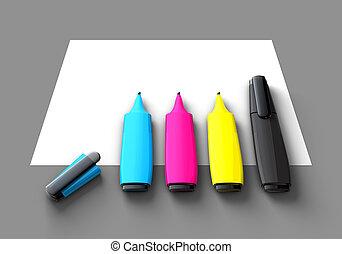 CMYK Felt-tip pens - Four CMYK felt-tip pens on blank paper