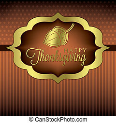 Happy Thanksgiving - Acorn elegant Thanksgiving card in...
