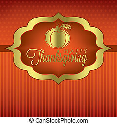 Happy Thanksgiving - Pumpkin elegant Thanksgiving card in...