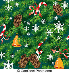 Christmas and New Year background in green colors - fir tree texture with x-mas accessories and snowflakes - seamless pattern.