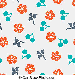 Summer vector seamless pattern with cherry, flower and leaf.