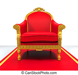 King Throne Chair isolated on white background 3D render