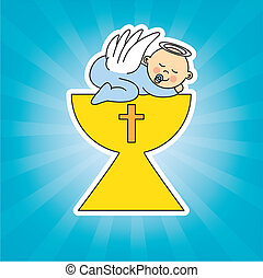 baby sleeping in a chalice