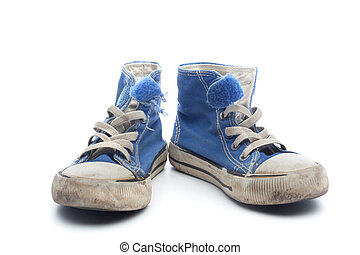 Pair of dirty, worn out blue children sneakers - Pair of...