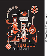 Music Festival - abstract vector illustration on black...