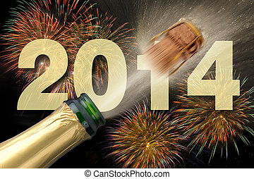 new year 2014 - happy new year 2014 with champagne and...