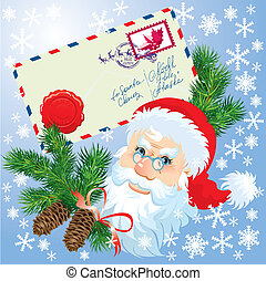 Christmas envelop and Santa Claus head with fir tree...