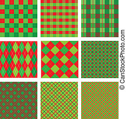 Set of Christmas and New Year plaid seamless patterns in red...