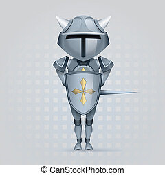 Knight - crusader knight with a big head is covered with a...