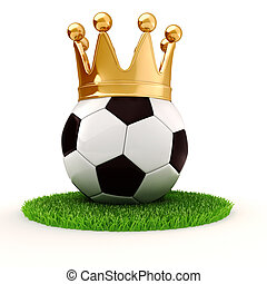3d football and golden crown