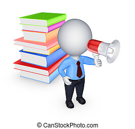 3d small person with bullhorn and colorful booksIsolated on...