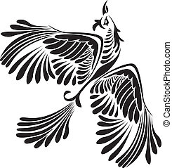Fantasy bird stencil black isolated