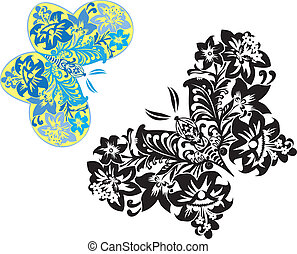 Magic butterflies from flowers colored and cliche variants