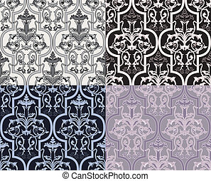 Damask seamless wallpaper in four variants