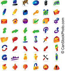 Colorful interface icons - Colorful icons for computer...