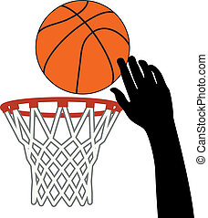vector symbol of shot of basketball ball through a hoop -...