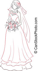 Bride with bouquet sketch