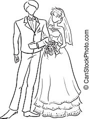 Wedding couple - Vector monochrome picture of a young...