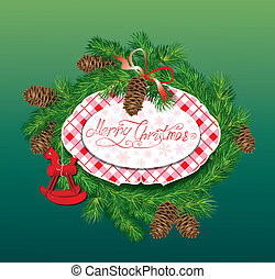 Christmas and New Year background - fir tree branches, pine cones and horse toy - oval frame.