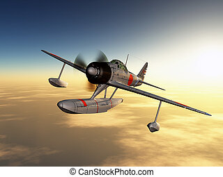 Japanese Fighter Bomber - Computer generated 3D illustration...