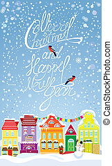 Christmas and New Year holidays card with small fairy town on light blue sky background with decorative colorful houses in winter time.
