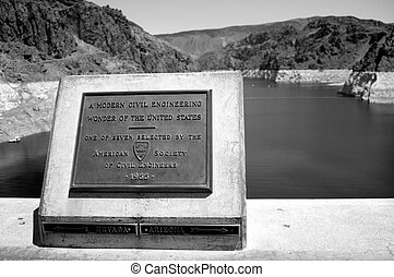 Civil Engineering Wonder Sign at Hoover Dam - American...