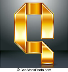Letter metal gold ribbon - Q