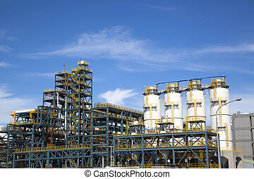 chemical Industrial Plant  against the blue sky