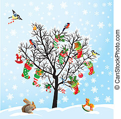 Winter tree with birds, squirrel, Xmas shoes, candies and...