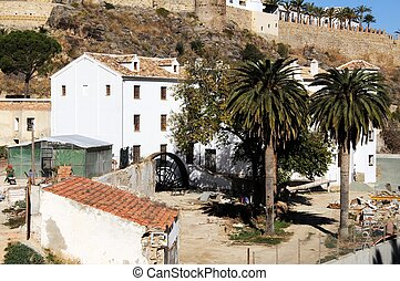 Watermill, Antequera, Spain - View of the castle and water...
