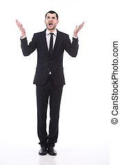 Young frustrated and stressed businessman, isolated on white...