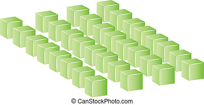 row of green building blocks