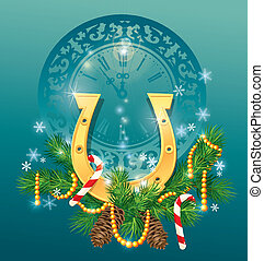 christmas and new year background with golden horse shoe -...