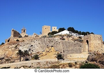 Spanish castle, Antequera, Spain. - View of the castle on...