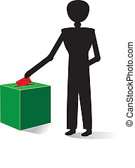 man voting with red enveloppe