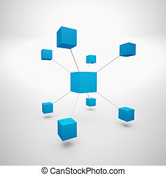 Abstract blue boxes - Abstract blue cubes on white and grey...