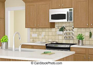 cocina, interior, Primer plano, hierbas