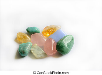 Colorful semi-precious gemstones - Group of color...