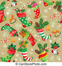 X-mas and New Year background with Christmas stockings...