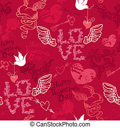 Valentines Day seamless pattern with hand drawn hearts, keys and birds on red background.