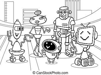 robots group cartoon coloring page - Black and White Cartoon...