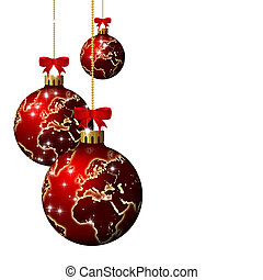 christmas glass balls with world pattern over white...