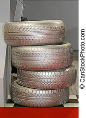 Tyres - Stack of four car tyres for summer season