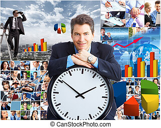 Business collage. - Business collage background. Businessman...