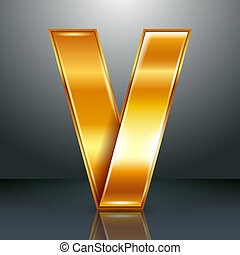 Letter metal gold ribbon - V