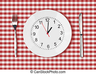 Knife, white plate with clock face and fork on red picnic...