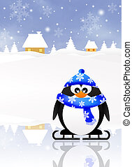 Penguin skating on ice
