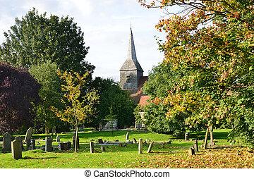 English Churchyard in Autumn