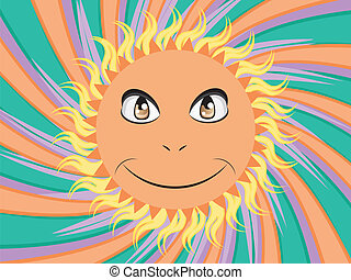 Happy sun face - Abstract cartoon sun with happy face on...