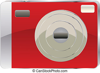 Red digital camera - Icon of compact red digital camera on...